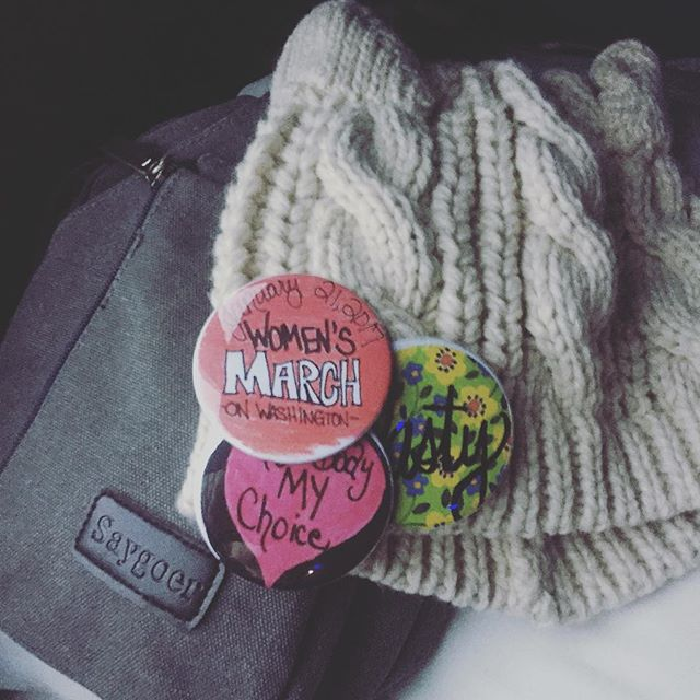 bus ride to DC! already got tons of goodies & pins from the fellow ladies commuting in together from Charleston. every car that drives by is filled with ladies, pink hats & posters!