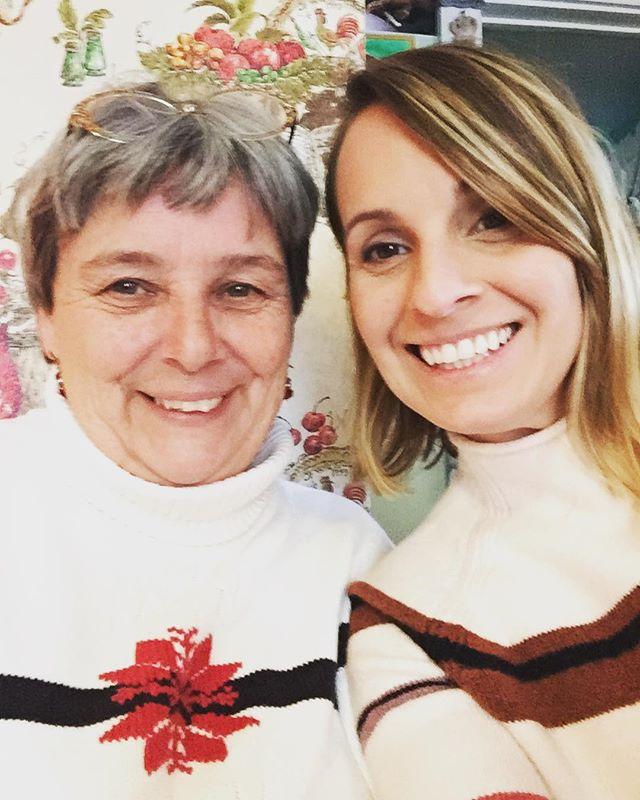 mom & i were twinning this year #wearingwhiteandstripe #sweaterweather #christmasinmaine